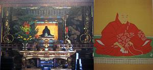 左:御影堂に安置される御真影(親鸞聖人) 右:本願寺第12代教如上人 『真宗本廟 東本願寺』(真宗大谷派出版部)